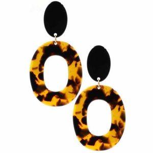 """Tortoise oval earrings 3"""""""